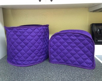 Purple Quilted Fabric Small Appliance Covers Set for Kitchen Appliances Made to Order