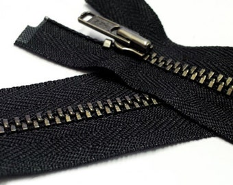 36 inch Lt Jacket Zipper YKK Number 3 Antique Nickel Metal - Separating - BLACK~ZipperStop Wholesale Authorized Distributor YKK®
