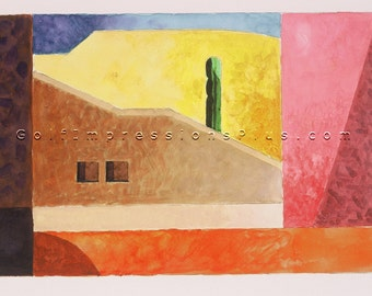 """Colorful Fine Art Print. Watercolor Painting. Los Cabos, Mexico - """"Sentinel""""."""