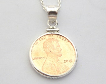 Personalized Penny Necklace - Hand Stamped Sterling Silver Penny Choice of Year Necklace USA Coin Charm Lucky Penny