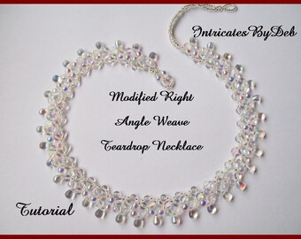 Pattern Beaded Modified Right Angle Weave Teardrop Necklace - Jewelry Beading Tutorial, Beadweaving Instructions, PDF, Do It Yourself