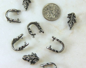 TierraCast Botanical Pinch Bail, Large Pinch Bail, Botanical Collection, Jewelry Findings, Antiqued Pewter Finish, 4 Pieces, ........ 2740