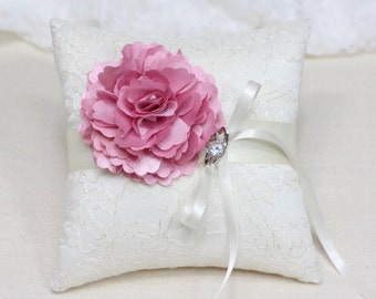 Wedding ring bearer pillow, pink flower on ivory lace ring pillow, wedding ring bearer cushion,