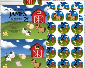 Barnyard Farm Animals Birthday Party Invitations Editable Invitation Farm Sheep Horse Invitation Cow Farm Birthday Party Ideas DIY B10