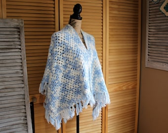 Vintage/handmade/blue/white/fringe/crochet/shawl. Boho/hippie/winter. Pretty shawl!