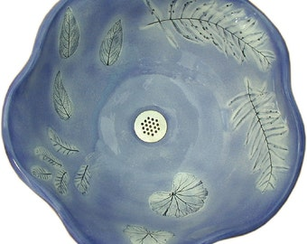 Lake Vessel Sink in elegant medium French Blue with real Sage and Geranium leaf imprints.