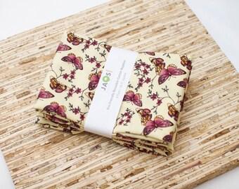 Large Cloth Napkins - Set of 4 - (N2409) - Butterflies Modern Reusable Fabric Napkins