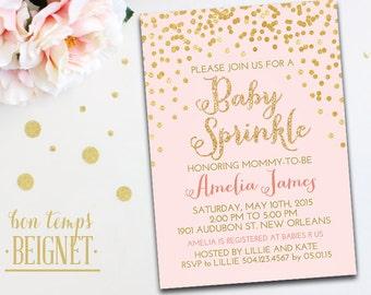 Gold Glitter Confetti - Baby Sprinkle - Baby Shower Invitation - 5x7 Printable Invitation