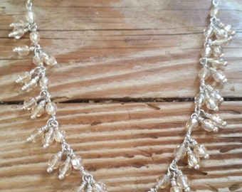 Champagne colored Czech fire polished beads on silver necklace