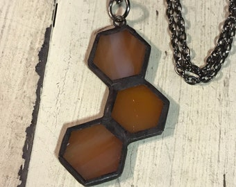 Artistic Icing Stained Glass long Honeycomb Necklace