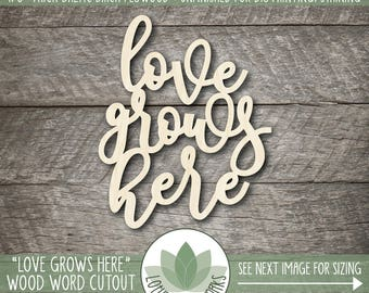 Love Grows Here Wood Word Art, Gallery Wall Wood Words, Love Grows Here Wall Art, Wooden Word Home Decor, Laser Cut Wooden Words