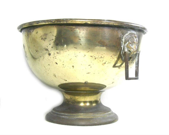 Vintage Footed Brass Planter with Lion Head Handles