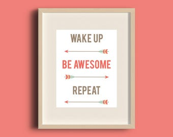Be Awesome Print | A4 Motivational Print | Tribal Print | Arrow Print | Nursery Art | Boys Room | Baby Boy Nursery | Girls Room | Man Cave