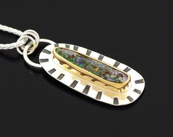 Australian Boulder Opal necklace Sterling Silver with 22K Gold - multicolor opal necklace - boulder opal pendant - Boholux opal necklace
