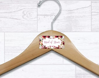 Floral Maid of Honor Wooden Hanger - Wedding Hangers - Bridal Hanger - Maid of Honor Gift - Wedding Gift - Wedding Supplies - HNGR0045