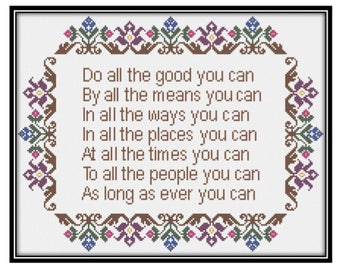 Do All the Good You Can (PDF) Cross Stitch Pattern