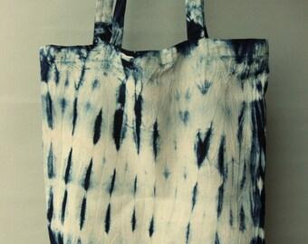 Natural Indigo Hand tie dyed canvas bag/Handmade/Tie dye