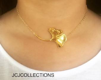 Ginkgo Leaf Necklace / Statement Necklace