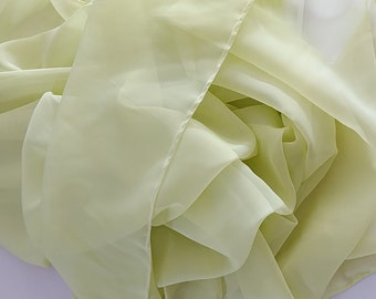 "Chartreuse Sheer Voile 6 yards cut 116"" wide. Swatch available"