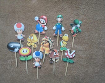Mario Brothers die cuts, Mario Brother cupcake toppers, Mario Brothers paper goods, Mario Brothers and friends
