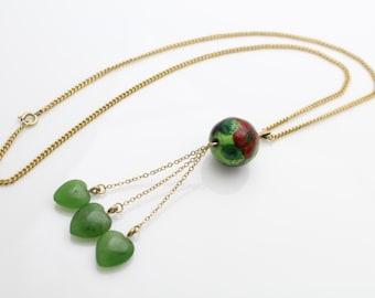 "Vintage 12K GF Dangle Necklace w Jade Hearts and Flower Enamel Bead 16"". [427]"