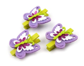 3 mini clothespins Purple Butterfly