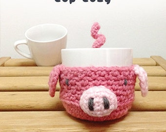 Crochet Pattern Piggy Fruit cozy Apple protector Pig Mug Sleeve Piggie Cup warmer Oink Mug holder Apple cozy Mug cozy Cup cozy Coffee Tea
