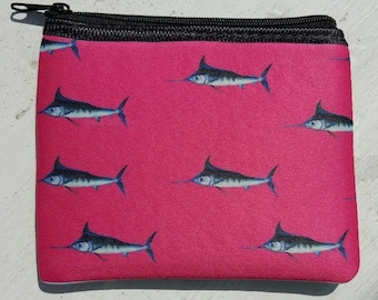 Mini Marlins Art 2 sided hot pink apple green Coin Purse zippered pouch neoprene