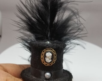 Victorian Style Tiny Top Hat Black w/feather