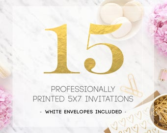 15 PRINTED INVITATIONS including white envelopes