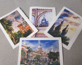 University of Tampa  4 cards Assortment 5 x 7 Note cards by watercolorsNmore