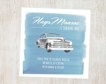 Vintage Car Birthday Invitation
