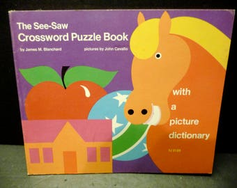 See Saw Crossword Puzzle Book - 1973 Children's puzzle book- paperback