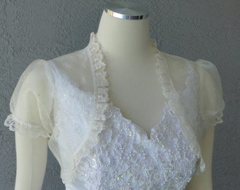Wedding Bolero Shrug Ivory Glitter Organza Lace Trim Cap Sleeves