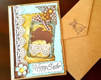 Shabby Easter Card, Easter Handmade Card, Easter Card with Bunny, 3D Easter Card
