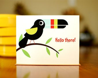Hello There Toucan - Colorful Exotic Bird Thinking of You Card on 100% Recycled Paper
