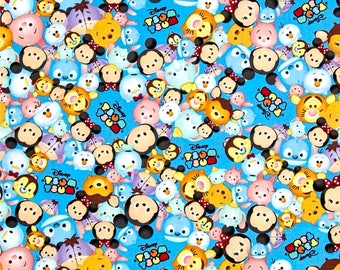 Tsum Tsum Packed With Logo Blue Color ~  Disney Tsum Tsum  Springs Creative Group Cotton Quilt Fabrics