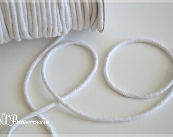 Braided cotton rope - white - 6 mm