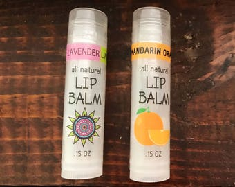 Lip Balm All Natural Handmade Lot of 2 Tubes - Choose Your Flavor!