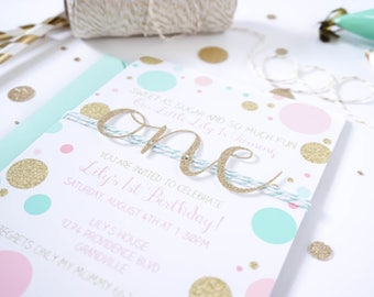 First birthday invitation | 1st Birthday invite | Baby girl invitation | Pink Mint and Gold first birthday party | Gold glitter One invite