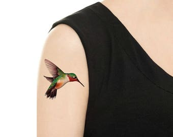 Temporary Tattoo - Hummingbird - Various Patterns / Ruby-Throated Hummingbird/ Colorful Birds / Bird Tattoo / Tattoo Flash