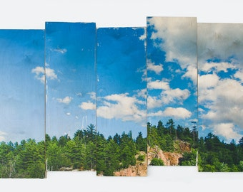 Fine Art Photography, 'Muskoka Sky' Limited Edition Image Transfer on Wood Panels by Patrick Lajoie, fractured, forest, trees