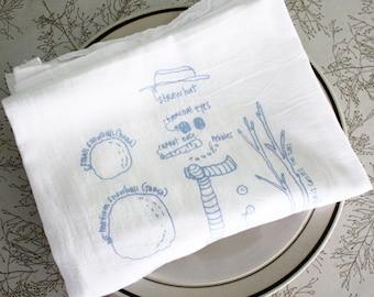 Snowman diagram tea towel - white cotton floursack kitchen towel