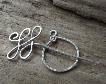 "Aluminum Celtic Loop & Hoop Shawl Pin Scarf Pin-  Wire Hammered Silver -""Roundabout"""