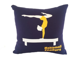 Personalized gymnast pillow; gymnastics team gift; gymnastics bedding