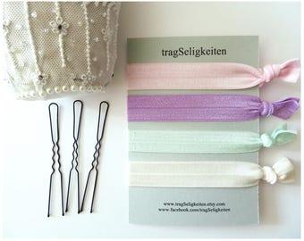 Elastic ties, ponytail holders, elastic hair ties, hair accessory, dance accessories, dance gift, pastel colours