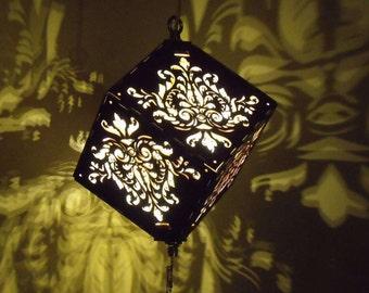 Pineapple Damask DropCube Lantern