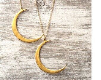 Statement Gold Crescent Moon Necklace Mothers day gift Pendant Gold  Sterling Silver Jewelry boho chic necklace mom sister lunar jewelry