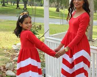 CLEARANCE 1 dress only Red/White Mommy and me matching dresses, matching outfits, mommy and me, mommy and daughter matching outfits
