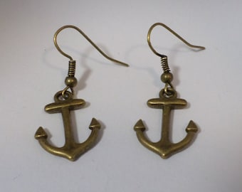 Anchor earrings bronze